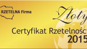 Złoty Certyfikat Rzetelności 2015 dla Jaro Sp. z o. o.