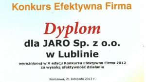 Dyplom Efektywna Firma 2012 dla Jaro Sp. z o. o. w Lublinie