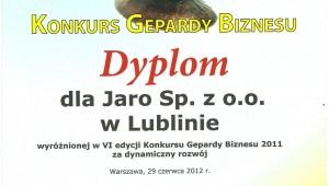 Dyplom Gepard Biznesu 2011 dla Jaro Sp. z o. o. w Lublinie